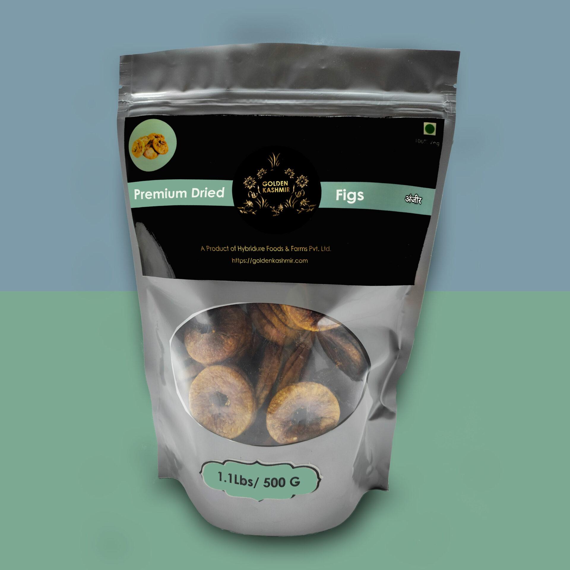Golden Kashmir Premium Dried Figs   500G (1.1Lbs)